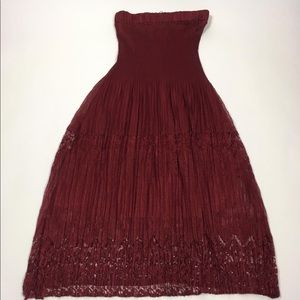 Red jeans nyc women's strapless dress